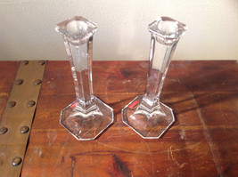 Authentic Austrian Glass Candlesticks Elegant Sturdy Crystal Clear Mikasa