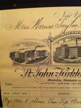 Antique Receipt 1890 St, John Kirkham Shoe Co 134 136 Grand St NYC Sandy Hook CT image 2