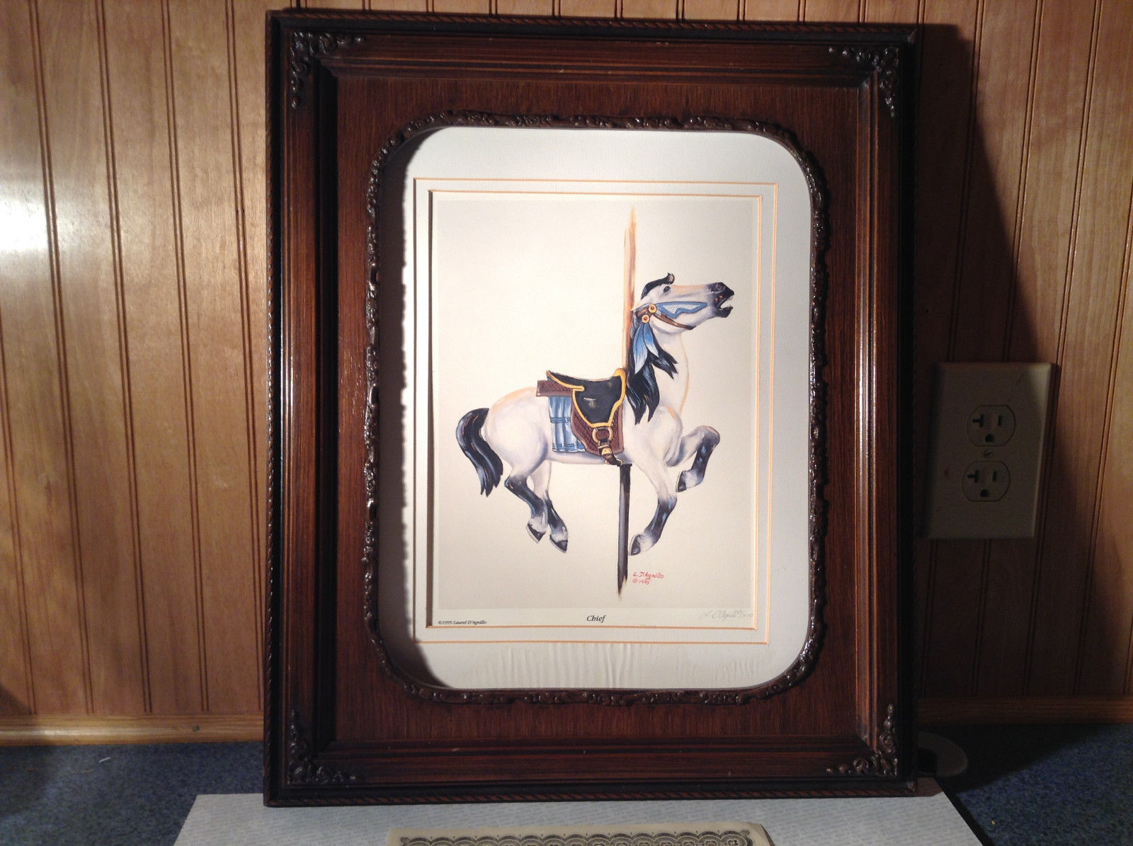 Authentic Framed 995 L D Agnillo Signed Horse Print Chief