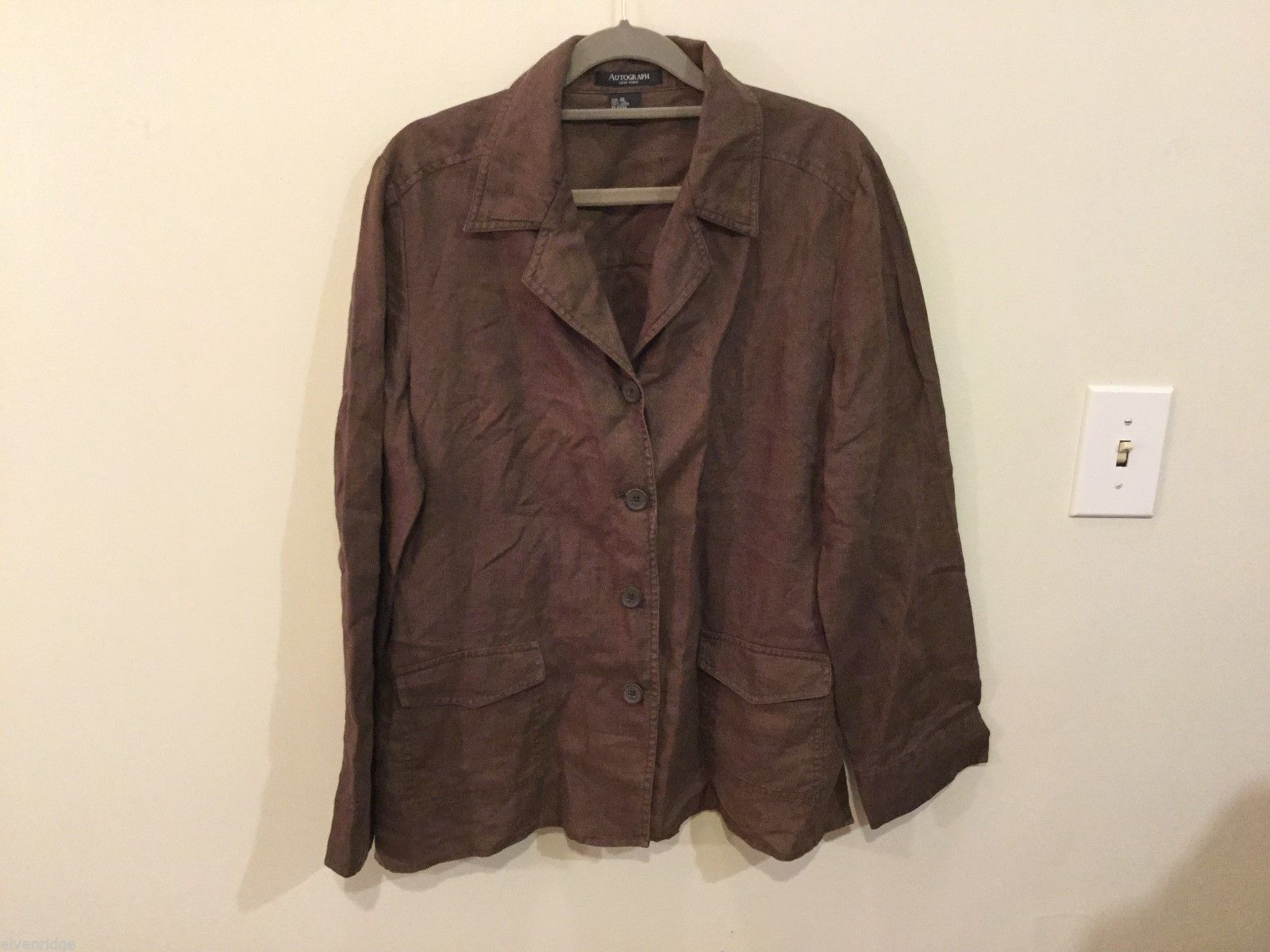 Autograph Womens Brown Button Down Top, Size XLarge