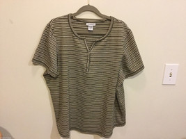 Avenue Horizontal Multicolor Striped V-neck Short Sleeve T-shirt Blouse, Size 18