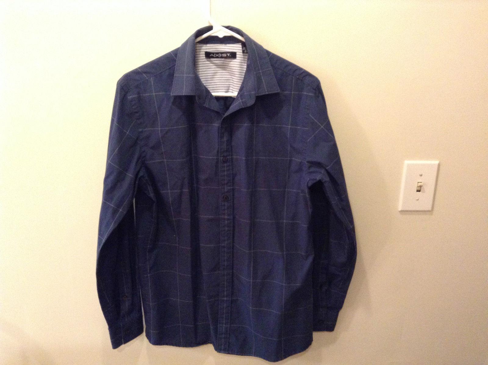 Axist Dark Navy Blue White Box Pattern Button Up Dress Shirt Measurements Below