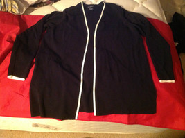 Avenue Long Sleeve Cardigan Black Trimmed in White Size 14/16 image 1