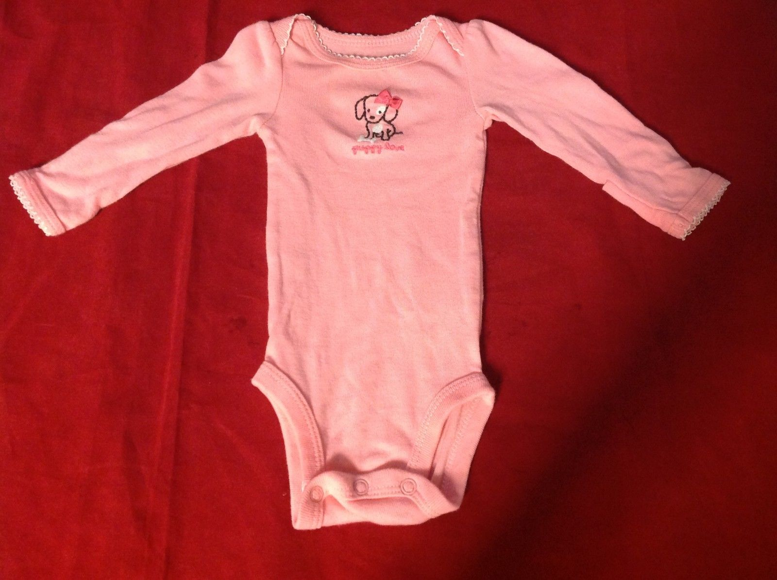 Baby B'Gosh Pink Romper with Cute Puppy and Puppy Love Written on Front Newborn