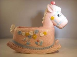 Baby Pink Ceramic Horse Planter Napco made in Taiwan