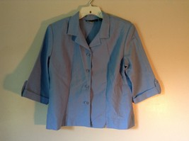 Baby Blue Briggs New York Size 16P Button Up Front Short Sleeve Top
