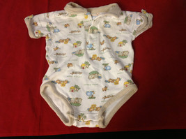 Baby Grand Baby Romper White Trimmed in Tan and Animal Prints Size 3 to 6 Months