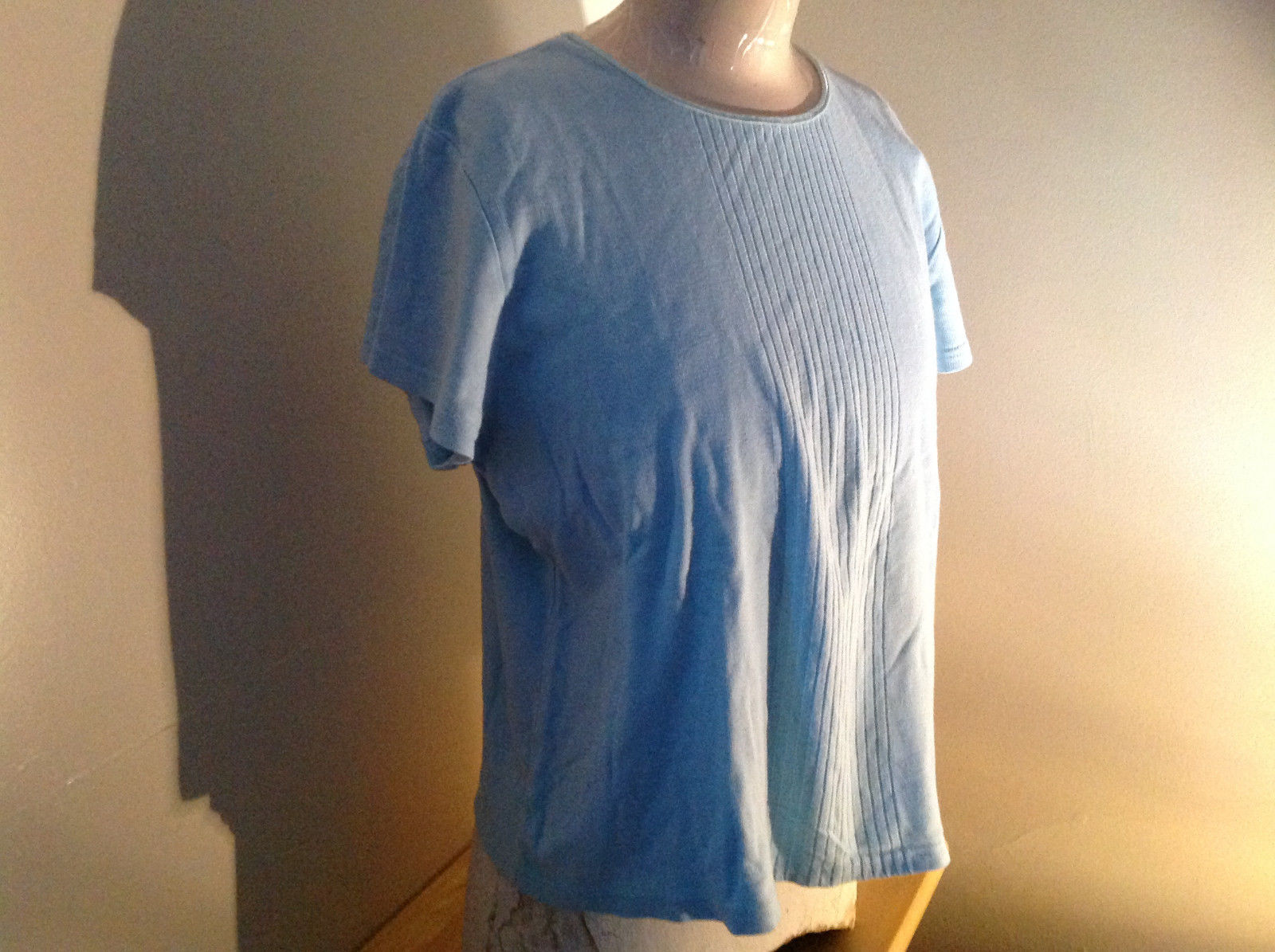 Baby Blue Short Sleeve Sweater Shirt by Jaclyn Smith Made in Guatemala Size XL