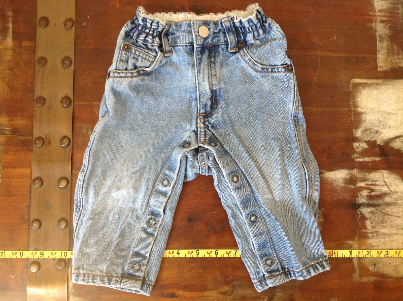 Baby Gap Infant Snap Legs Blue Jeans with Elastic Waist Size 9 to 12 Months