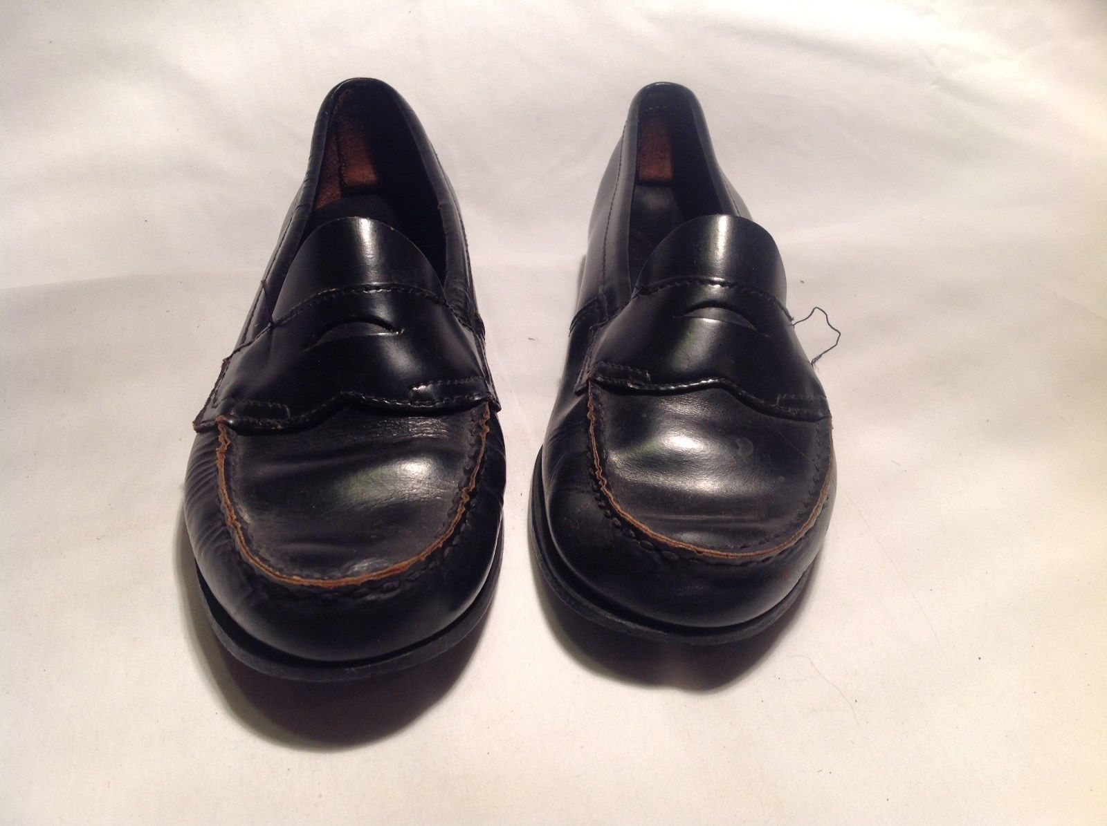 Bass Black Leather Loafer Small Heel Size Measurements Below