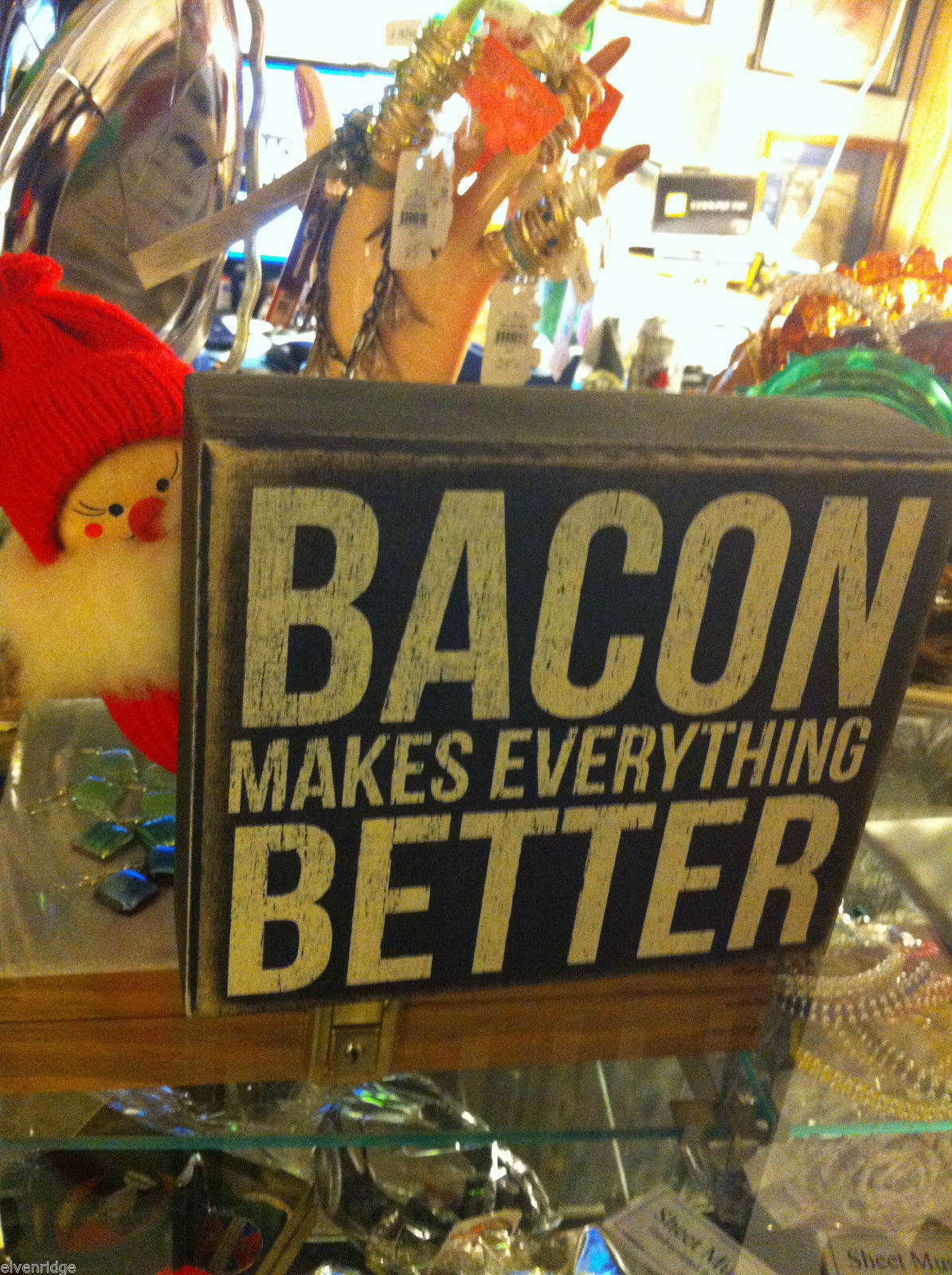 Bacon Makes Everything Better whimsical black box sign