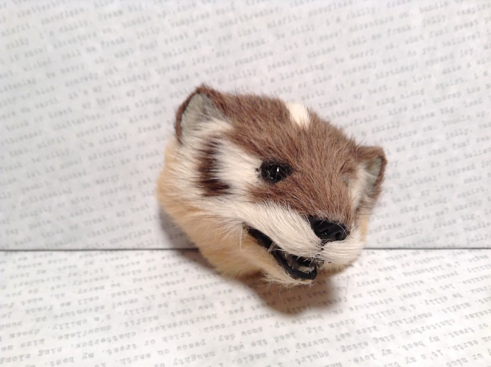 Badger Head Mini Refrigerator Magnet Recycled Rabbit Fur