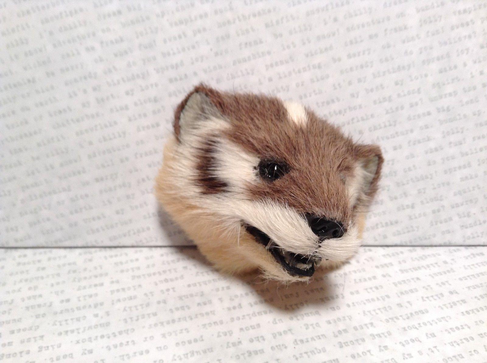 Badger Head Mini Refrigerator Magnet Recycled Rabbit Fur