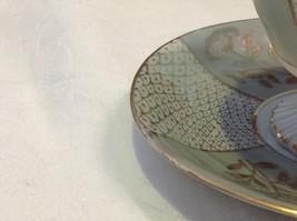 Antique cup saucer lt blue pedestal w florals scale gold trim National Potteries image 2