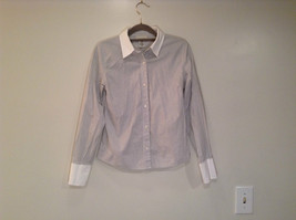 Banana Republic Long Sleeve Button Up Shirt White with Blue Stripes Size... - $24.74