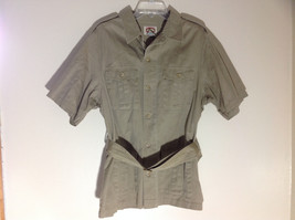 Banana Republic Khaki Olive Short Sleeve Button Up Belted Jacket Size Large