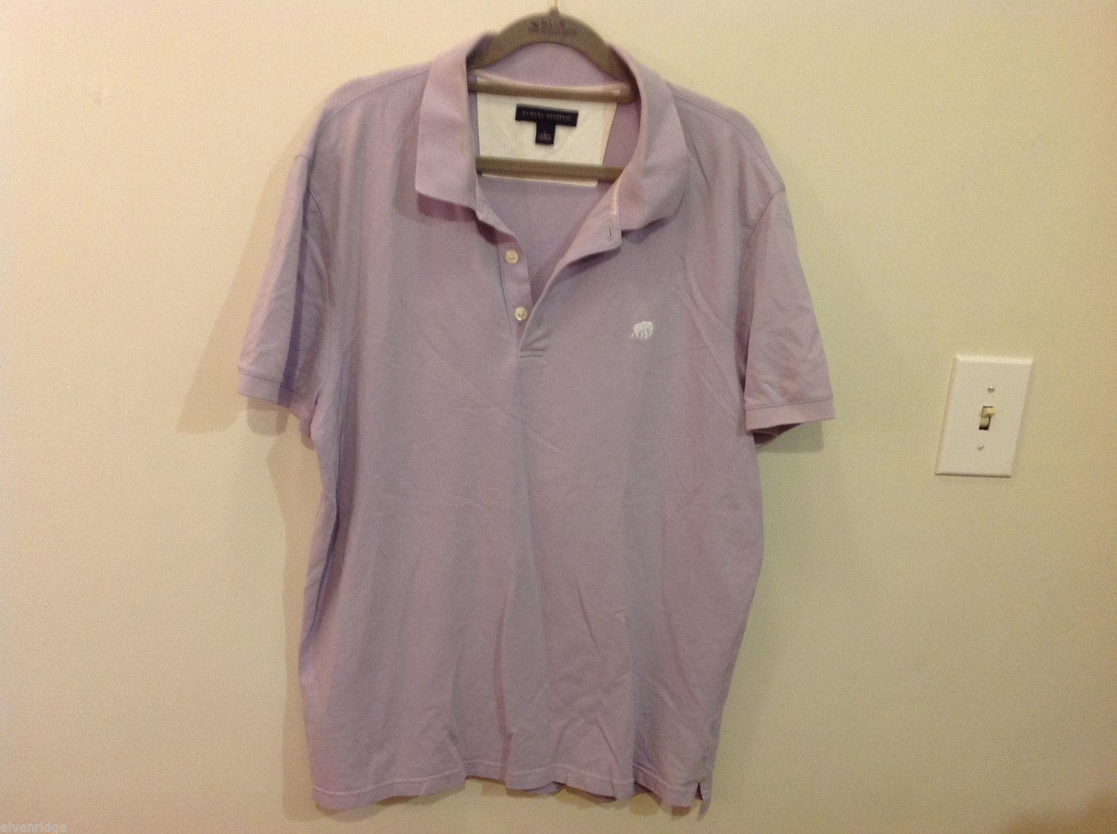 Banana Republic Mens Lavender Stretchable Cotton Polo Shirt with elephant Size L