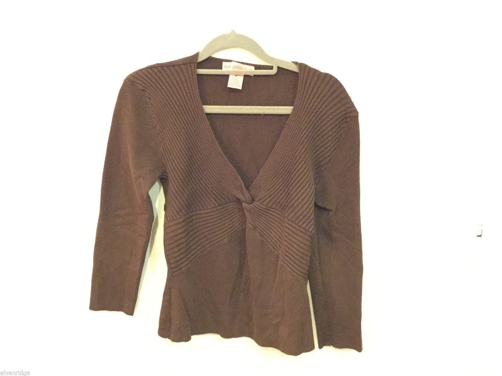 Bandolino medium brown blouse sweater, knot on front, lined design, Size M