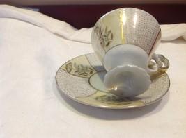 Antique teacup saucer canary floral stars pedestal gold trim National Potteries image 6