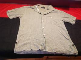 Baracuta Mens Olive/Light Green Squared Cream/White Short Sleeve Shirt Size L