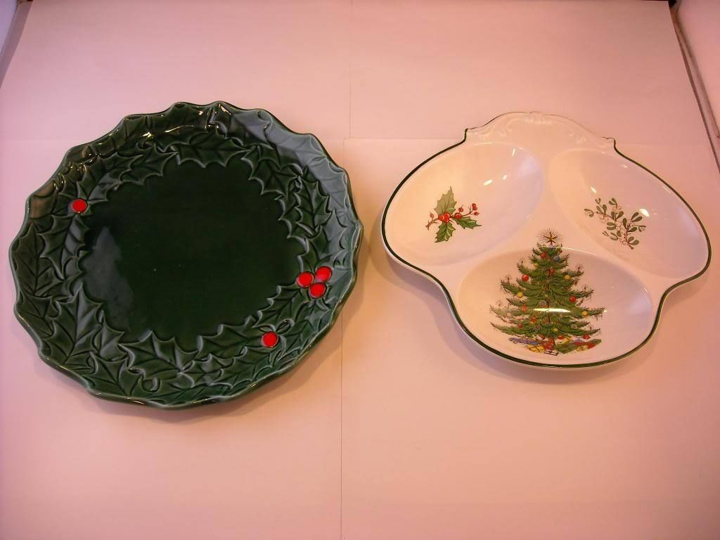 Barrington Ironstone Christmas plate green and white