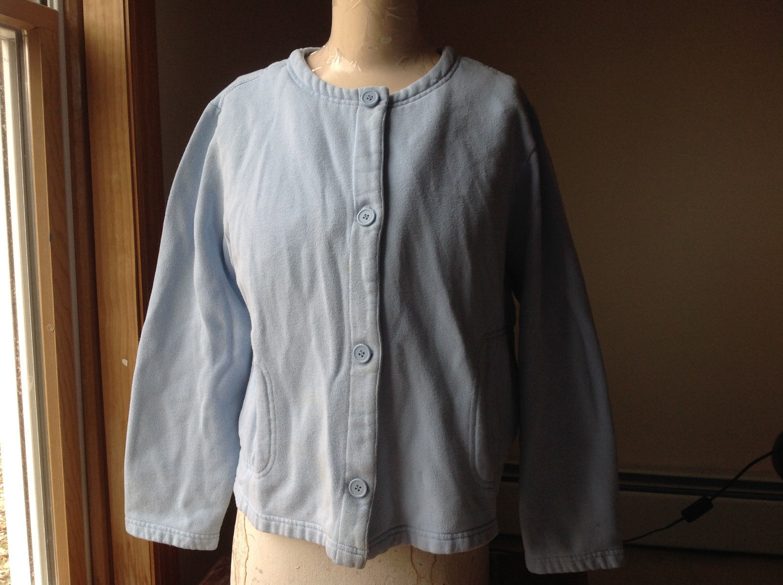 Basic Editions Baby Blue Button Up Closure Sweater with 2 Front Pockets Size XL