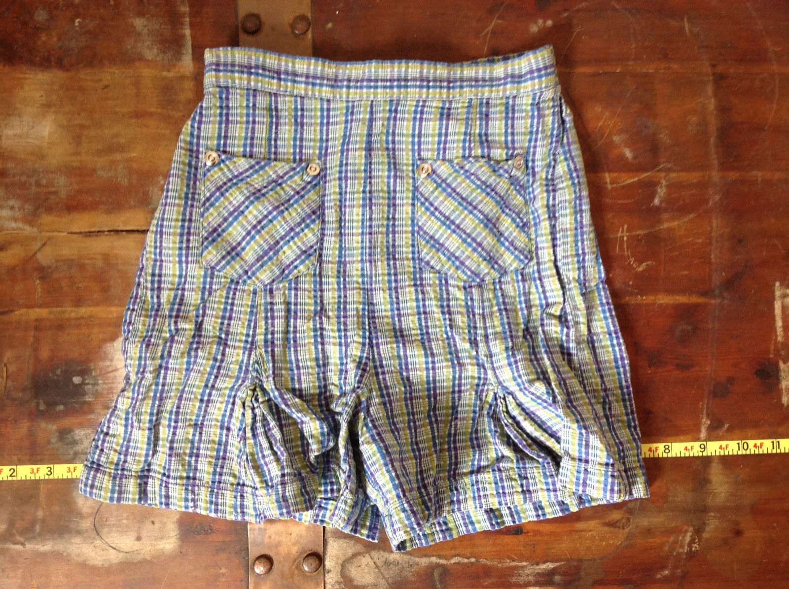 Basic Editions Blue Green Purple Plaid Raffle Shorts Elastic Waistband Size 7-8