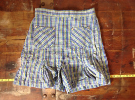 Basic Editions Blue Green Purple Plaid Raffle Shorts Elastic Waistband Size 7-8 image 1