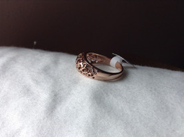 18K Rose Gold Plated Ring Flowery Swirl Design Filigree Size 7.25 and 7.75 image 2