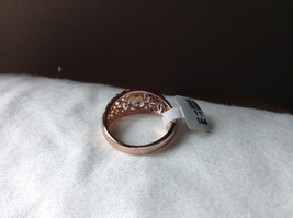 18K Rose Gold Plated Ring Flowery Swirl Design Filigree Size 7.25 and 7.75 image 3