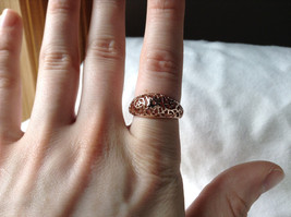 18K Rose Gold Plated Ring Flowery Swirl Design Filigree Size 7.25 and 7.75 image 5