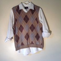 Bass Tan Light Brown Sweater V Neck Casual Diamond Shaped Design Size Small