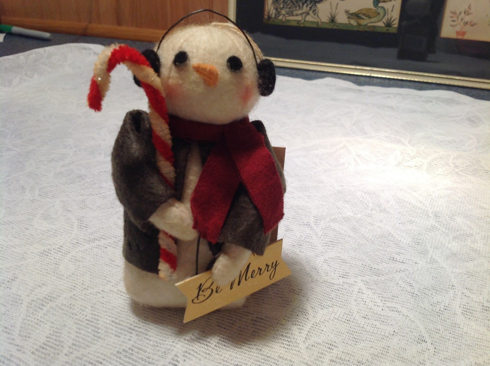 Be Merry Christmas Snowman Ornament Holding Candy Cane