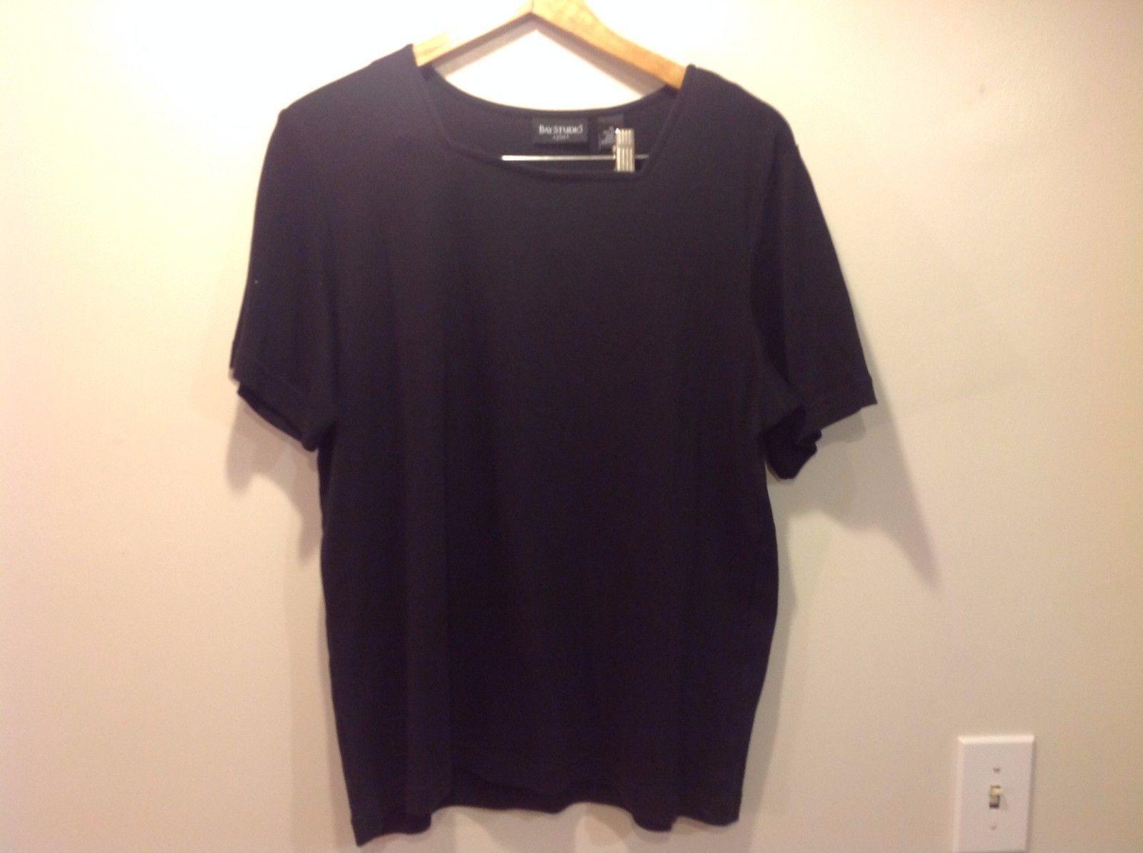 Bay Studio Black Short Sleeve Dance Style Cut Shirt Cotton Size 1x