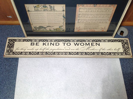 Be Kind to Women Vintage Look White Wall Sign Black Letters on White Background