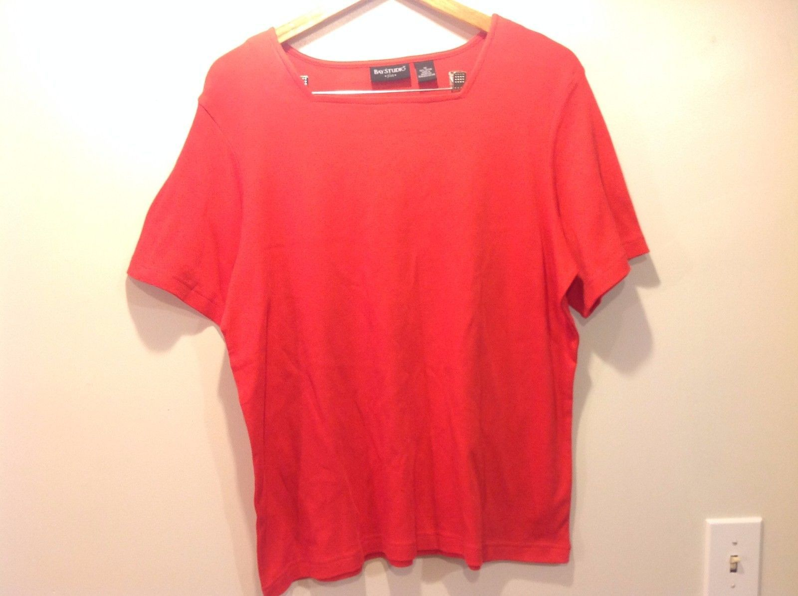 Bay Studio Red Short Sleeve Dance Style Cut Shirt Cotton Size 1x