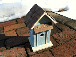 Beach Cottage Birdhouse - Blue w/ Brown Shingled Roof image 1