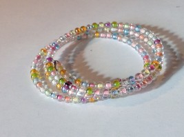 Beaded Coil Bracelet Multicolored Beads Clear Adjustable Size