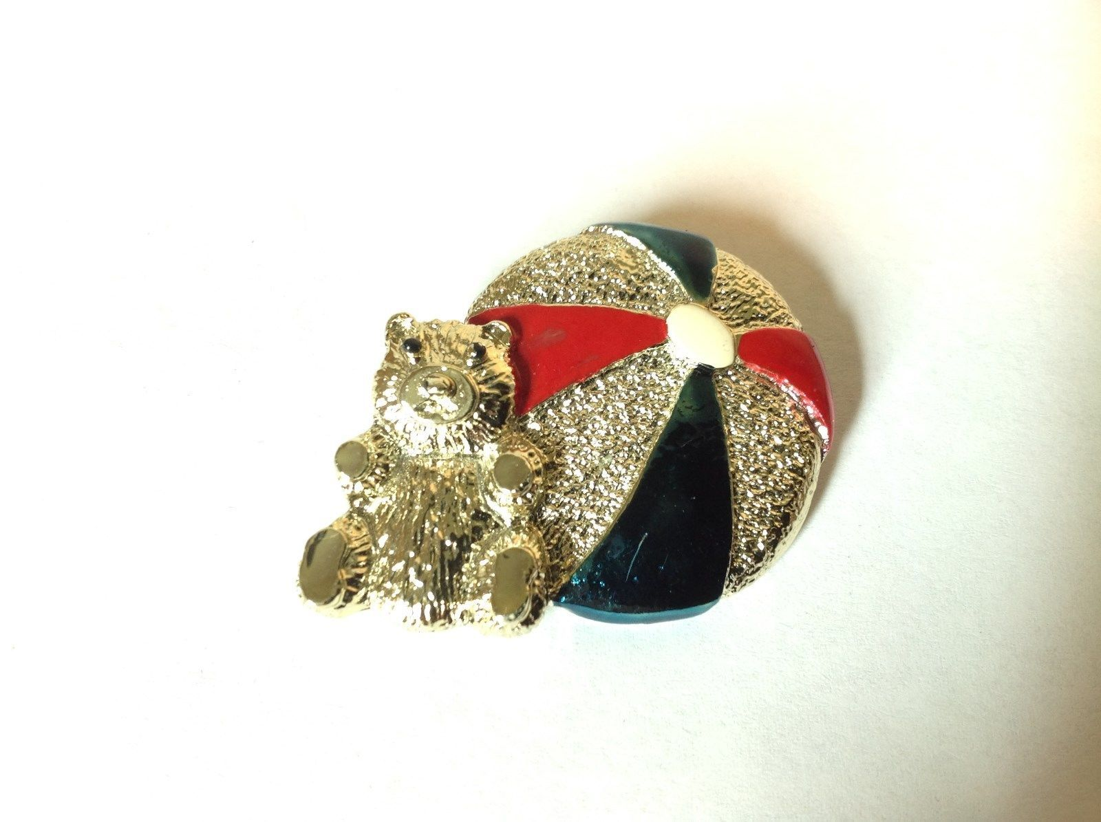Bear w beach  Ball Gold Tone Metal Pin Brooch Hinge Clasp Red Blue Enamel Shiny