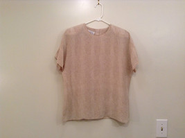 Beige Snake Print Linda Hutton Short Sleeve Blouse 100 Percent Silk Size Large
