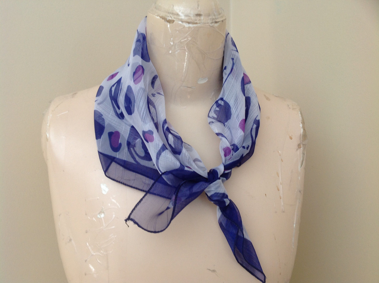 Beautiful Deep Purple White Circle Design Square Fashion Scarf