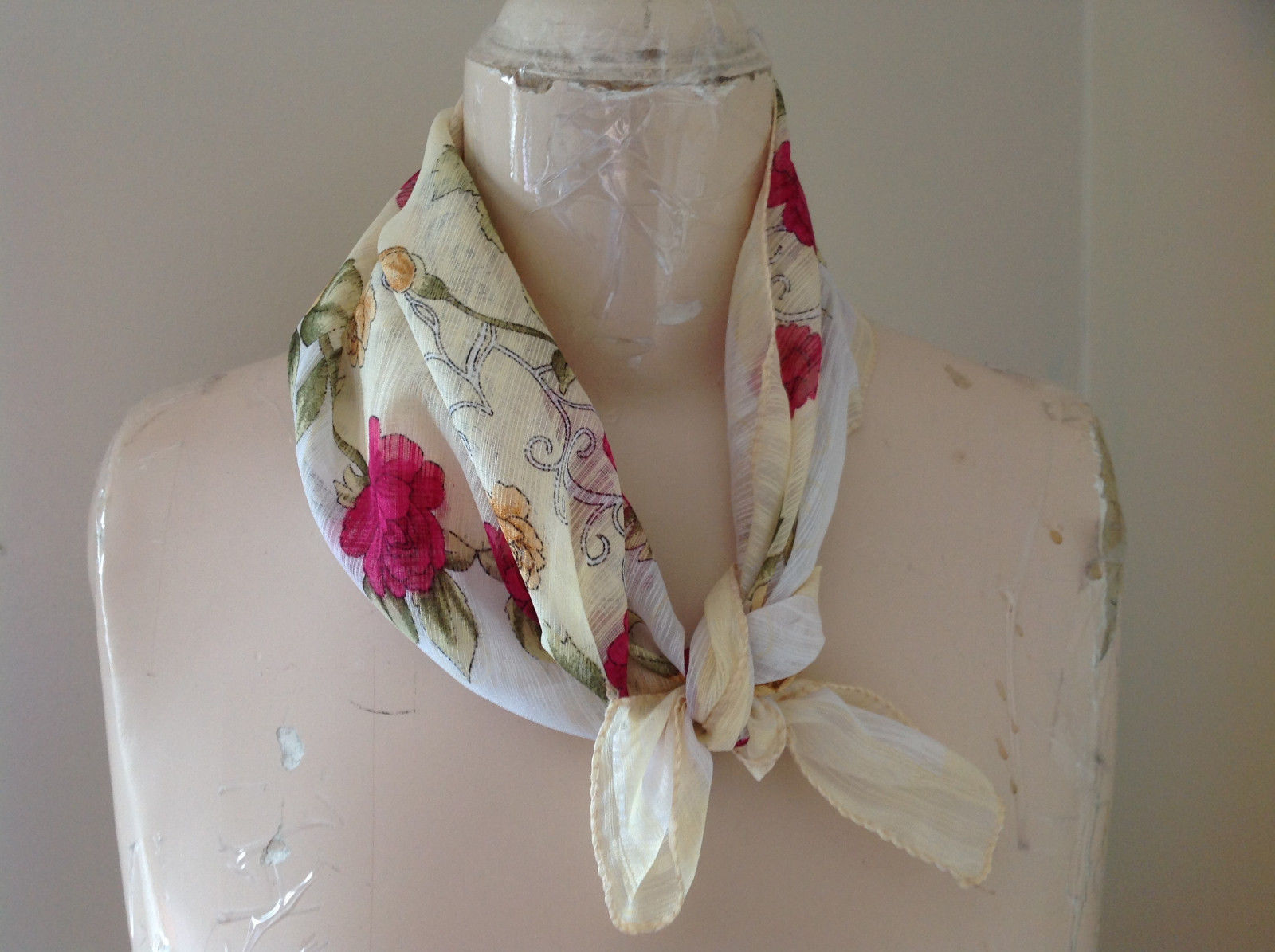 Beautiful Design Creme Pink Peach Flowered Square Scarf Light Weight Material