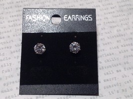 Beautiful Clear Round CZ Stone Silver Tone Stud Earrings