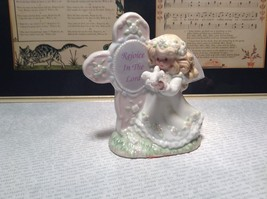 Beautiful Angel Figurine with Sign Rejoice in the Lord Sign on Cross