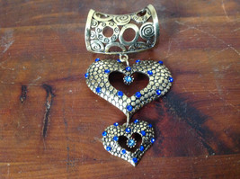 Beautiful Double Heart with Blue Crystals Gold Tone Scarf Pendant by Magic Scarf