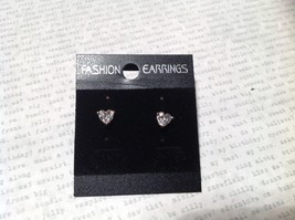 Beautiful Heart Shaped CZ Gold Tone Stud Earrings