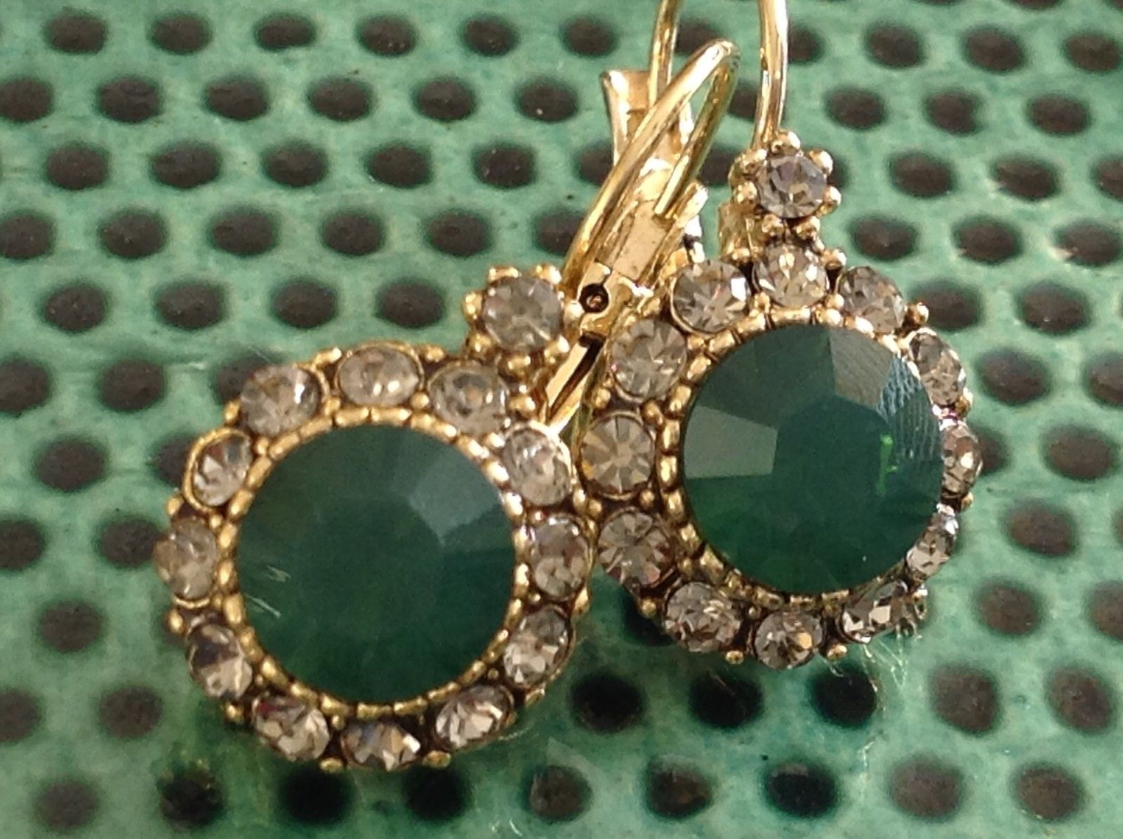 Gold Tone Emerald Color made with Swarovski Crystal and CZ Earrings Prudence C
