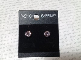 Beautiful Round Pink CZ Stone Silver Tone Stud Earrings