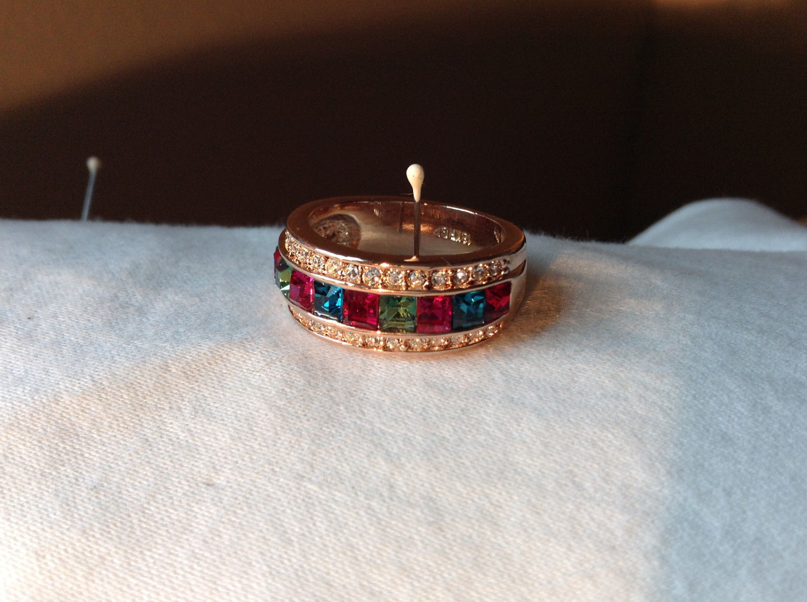 Beautiful Multicolor Stones 18K Rose Gold Plated Wide Band Ring Size 7