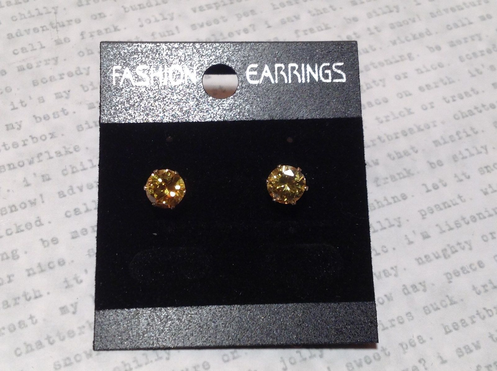 Beautiful Round Yellow CZ Stone Silver Tone Stud Earrings